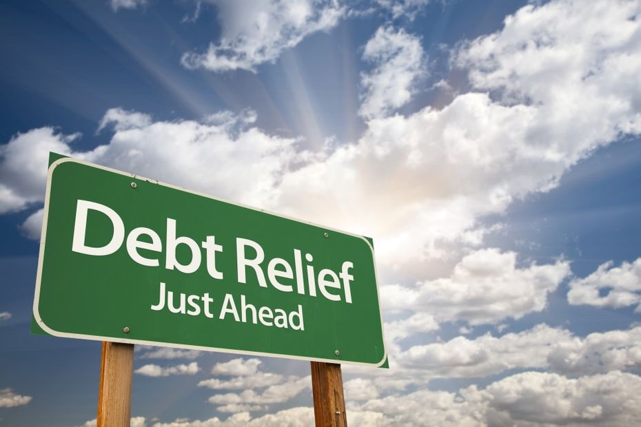 "sign stating ""debt relief just ahead"""